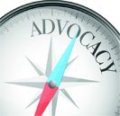 Advocacy written on compass