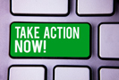 Green take action now button